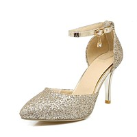 Pointed Toe Pumps High Heels Ankle Strap Sandals Sequin Wedding Shoes 5215