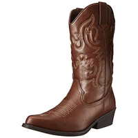 Madden Girl Womens Sanguine Faux Leather Mid-Calf Cowboy, Western Boots