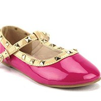 Toddler Girl's Dolly36-1 Designer T-Strap Studded Mary Jane Flats Shoes