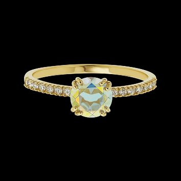 14kt Diamond and Opalescent Topaz Solo Ring