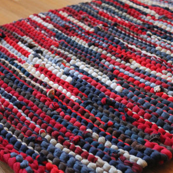Americana Rag Rug Upcycled T Shirts Nautical Red Navy Blue Cream Brown Tan Artisan Rustic Kitchen - US Shipping Included