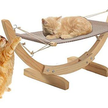 KARMAS PRODUCT Pet Hammock Luxury Cat Kitten Puppy Hanging Bed for Relaxing and Sleeping, Wood and Cloth, Easy to Assemble, Hold up to 30lbs Small Animals