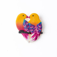 Cute Love Handmade Birds Brooch Pin Tropical brooch pin Small rainbow handmade brooch, Bird Brooch, Small gift for Her, Romantic girl woman