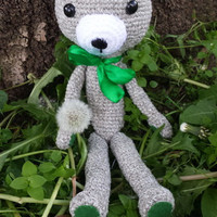 Teddy Bear, Crochet and Stufed Bear doll, Grey Teddy Bear with Green Ribbon