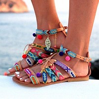 Shoes Women's Sandals Gladiator Leather Sandals Flats Shoes Woman  Sandals For Women Sandalia