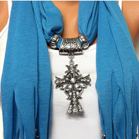 CHRISTMAS SALE blue solid color jewelry scarf with rhinestone cross big pendant, Christmas gift, Birthday gift or for you