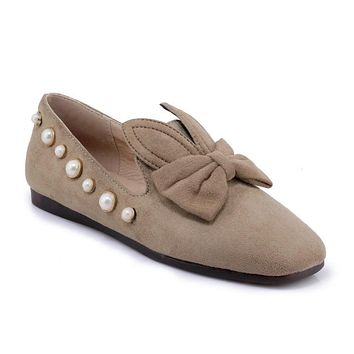 Women's Loafers Shallow Mouth Pearl Bow Tie Flats Shoes