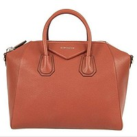 Givenchy Women's Antigona Sugar Goatskin Leather Satchel Bag, Burnt Orange