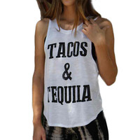 Summer,Spring 2017 Tacos and Tequila Letter Print Womens Sexy Sleeveless Tops T-Shirt female tops