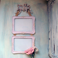 Pink Double Hanging Frame, Light Pink Painted 5 x 7 Vertical Frame Set with Bow and Ribbon, Cottage Chic, Shabby Chic, Nursery Decor