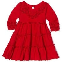 Love U Lots Baby Girls' Tiered Dress with Ruffles and Flowers