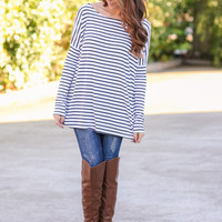 Stripe Piko Top -Black and Ivory