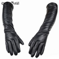 Handschoenen Winter Dames PU Leather Long Gloves Women Outdoors Elegant Sexy Gloves Tocados Para El Pelo#B817