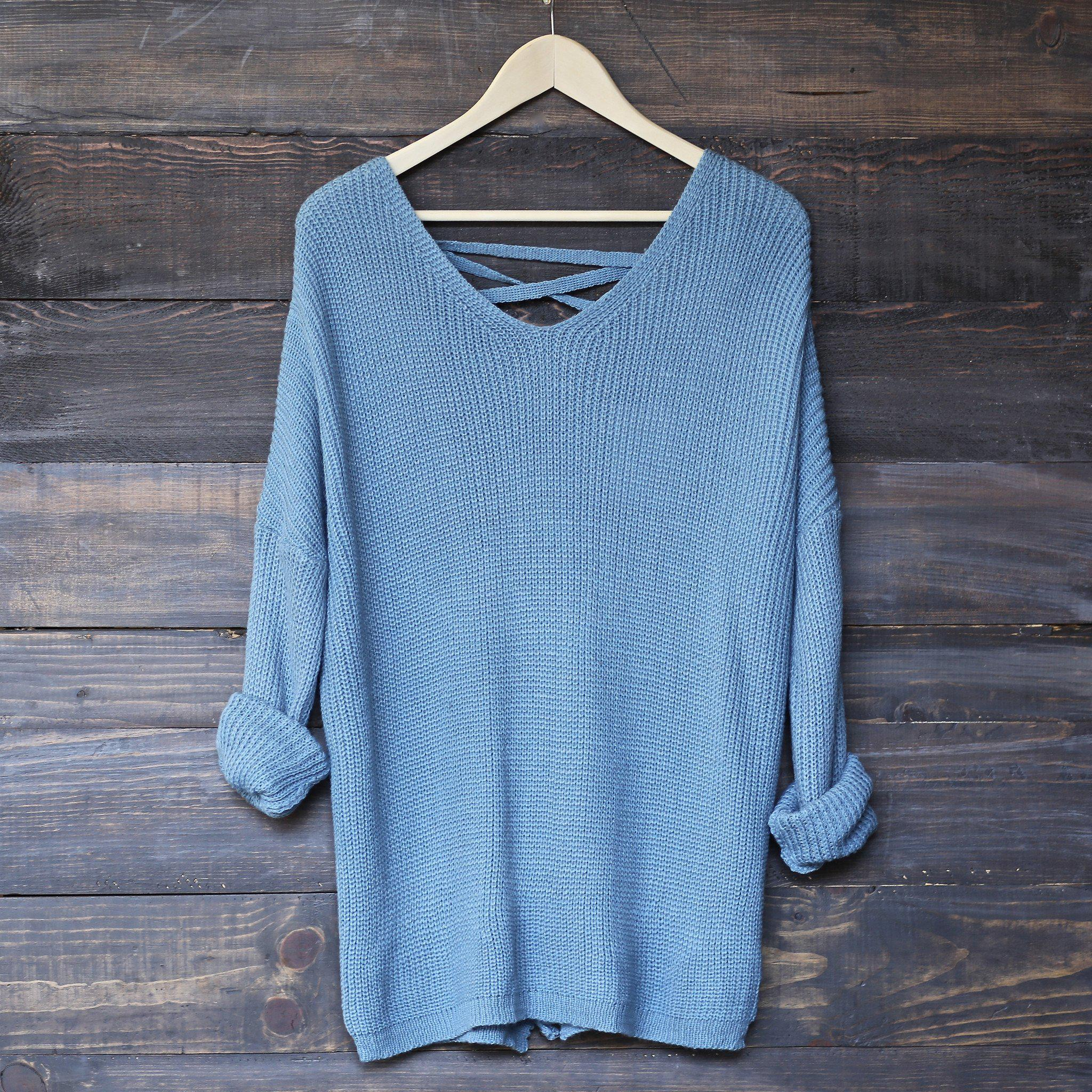 Image of oversize pullover laced back sweater - sky blue