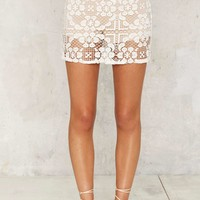 Delicate Cycle Crochet Lace Mini Skirt