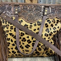 Leopard CowHide With Tool & Fringe Purse