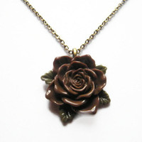 Mothers Day Necklace Pendant Chain, Flower Necklace, Rose Necklace Brown Flower