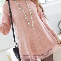 Women Tops  Lace Loose One Size Knitting Sweater = 1920471428