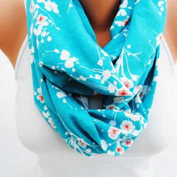 Blue floral infinity scarf, teal eternity scarf, turquoise floral scarf, soft, jersey knit scarf, great gift idea,