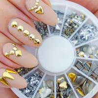 120Pcs Gold Silver Metal Nail Art Decorations Decor Rhinestones Tips Metallic Studs Nail Sticker 03LT