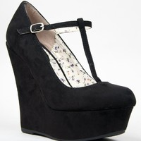Breckelles Women's Closed Toe Mary Jane T-Strap Wedges