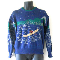 Canoe Men Graphic Sweater Men Pullover Sweater Nature Sweater Crewneck Sweater Crew Neck Sweater Knit Sweater Men Clothing Unique Clothes