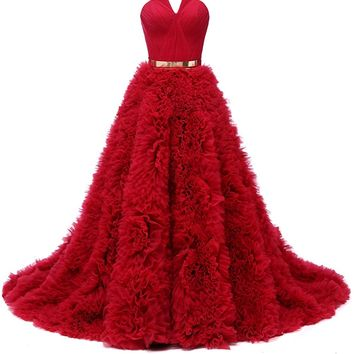 Sunvary High-end Notched Neckline Red Quinceanera Dress Sweep Flower Ruffled Skirt Ball Gown Gold Belt