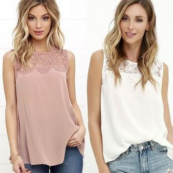 Fashion Summer Women Lace Vest Top Sleeveless Casual Tank Blouse Tops T-Shirt [8833512396]