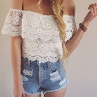 FASHION OFF SHOULDER LACE TOP BLOUSE SHIRT