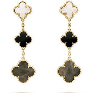 18K Pink Gold Mother of Pearl Black Onyx Clover Earrings