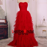 2015 Cheap A Line Princess Sweetheart  Long Wine Red Tulle Prom Dresses Gown/Wedding Dress/Ball Gown/Party Dress/Evening Dress/Custom