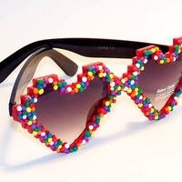 FREE SHIP! Heart Shaped Pixel Sunglasses w/ Fake Sprinkles / Pixelated sunglasses / Heart sunglasses / candy sprinkle / kawaii sunglasses