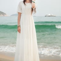 White Lantern-Sleeve A-Line Chiffon Maxi Dress