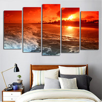 No Frame 5 Pcs Sea Painting Canvas Wall Art Picture Home Decoration Living Room Canvas Print Painting--Large Canvas Art