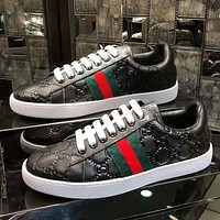 Gucci Popular Women Men Comfortable Red Green Stripe Leather Sport Sneakers Shoes Black I-ALS-XZ