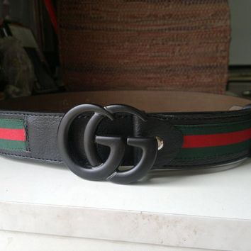 Men's Gucci Black double G green/red stipes leather belt