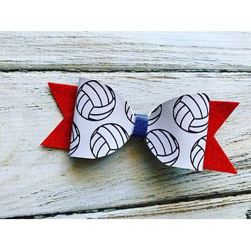 Volleyball Faux Leather Bow