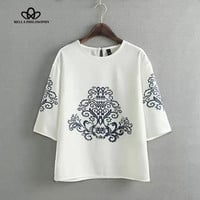 2015 summer autumn new vintage ethnic black baroque floral placement print half sleeve white pullover blouse shirt