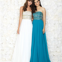 White Strapless Beaded Bodice Chiffon Gown
