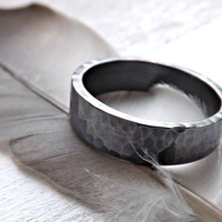hammered silver ring round hammered silver ring 4mm to 6 mm wide mens rustic ring wedding ring dark oxidized