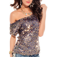 Blue Off Shoulder Top with Sequins