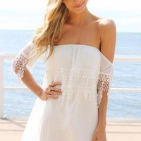 White Off the Shoulder Dress with Embroider Fringe Detail