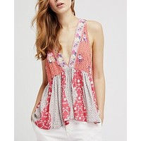 Free People - Dream Darlin Printed Women's Tank Top in Orange