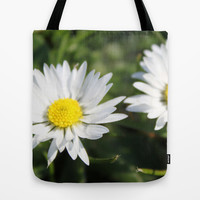 wild white daisy flowers. floral photography. Tote Bag by NatureMatters