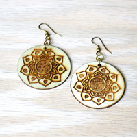 Wood Yantra Earrings