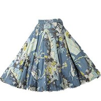 50s Blue Floral Novelty Print Swing Skirt