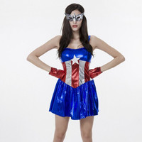 72842 Film Costumes Superhero Costumes 2015 Halloween All Saint Day Captain America Sexy Lady Party Dress Mask Gloves Spandex