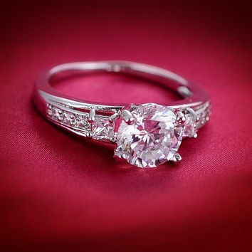 2015-18k White Gold Filled Vintage Style White Sapphire Engagement Ring Size 7 8 9 = 1946431748