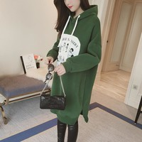 Oversize Hoodie For Pregnant Women Clothes Winter Loose Long Sweatshirts Thicken Tops Maternity Hoodies Dress Pregnancy Clothing