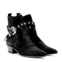 saint laurent - duckies suede ankle boots
